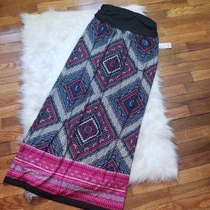 Vibrant Mixed Print Maxi Skirt, Lrg, NWT